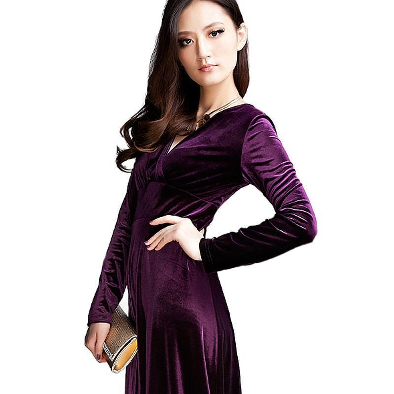 510b24ea1f148 Long Dres Plus Size S~3XL Women Winter Dresses Long Sleeve V Neck Maxi  Dress Velour Women Sexy Dresses Party Night Club Dress