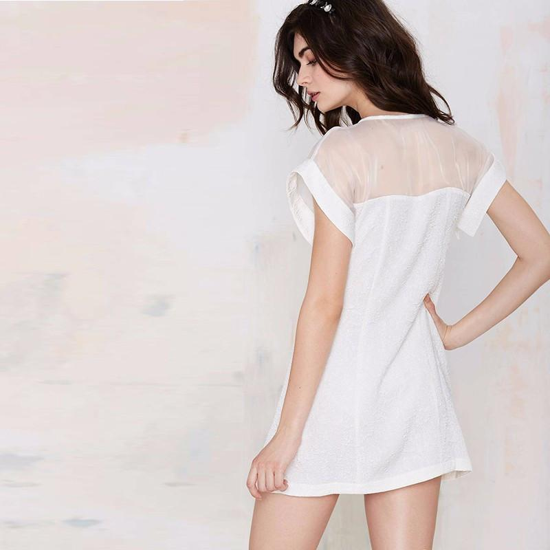 Mesh Patchwork Irregular Dress Solid White O-Neck Chiffon Fashion Dress Party Dresses For Wholesale-Dress-SheSimplyShops