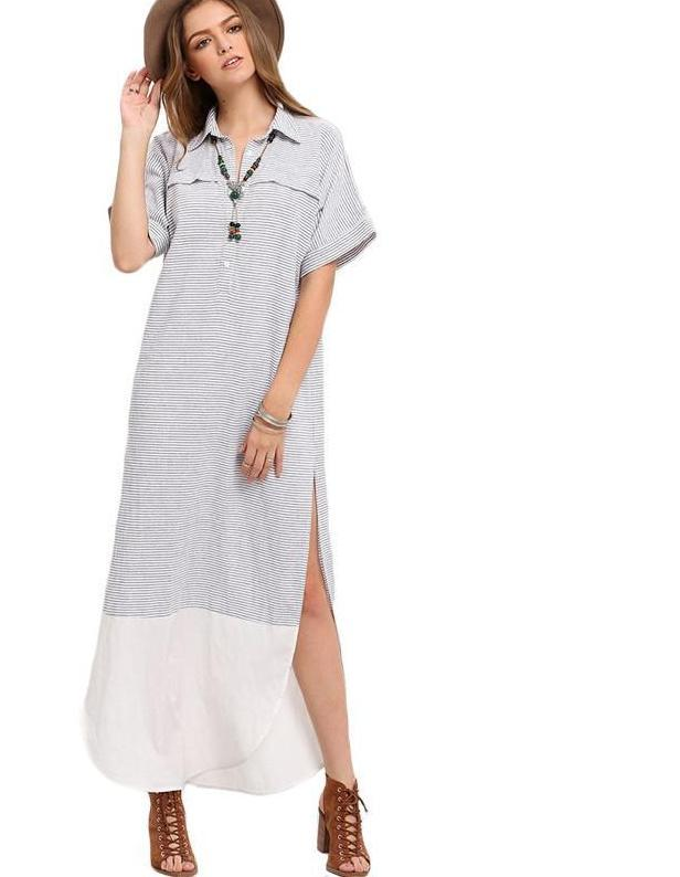 SheIn Striped Split Casual Dress Ladies Summer Black and White New Fashion Lapel Short Sleeve Button Long Maxi Dresses-Dress-SheSimplyShops