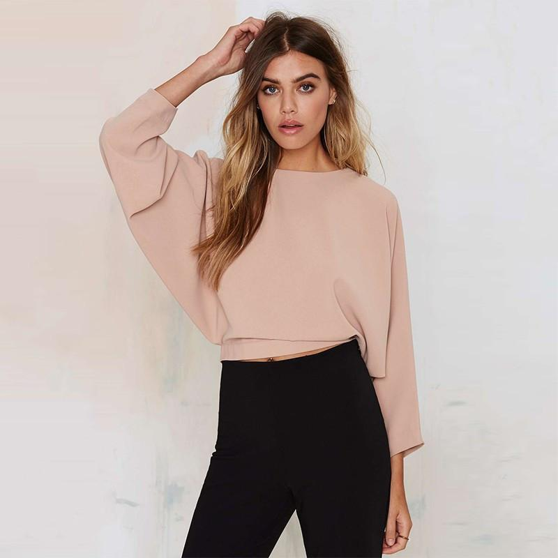Womens Fashion Backless Solid Three Quarter Sleeve Crop Tops Drawstring Buttons Lady T-shirts-SHIRTS-SheSimplyShops
