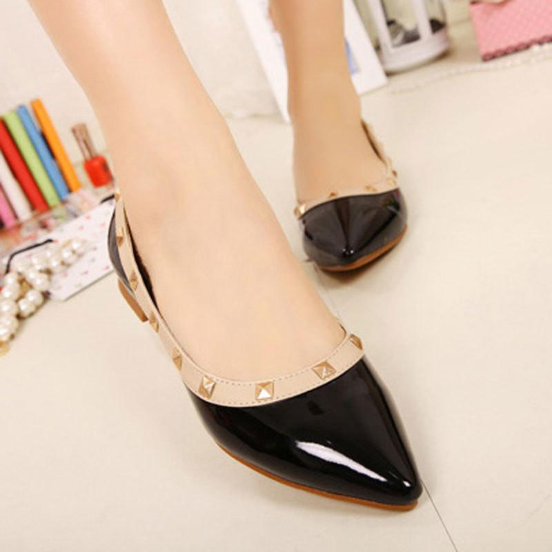 Size 34-43 New Fashion Casual Women Pointed Toe Rivet Flat Bottom Shoes Women Slip On Valentine Flats Candy Color Zapatos Mujer-Bottoms-SheSimplyShops