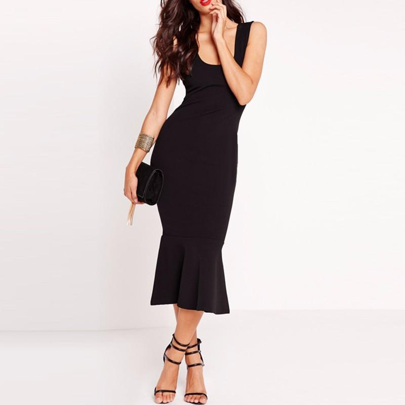 Fashion Women Sexy Summer Slim Casual Sleeveless Party Black Elegant Long Mermaid Dress-Dress-SheSimplyShops