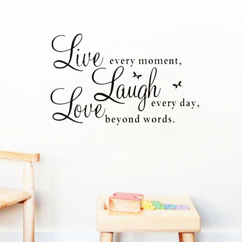 Live laugh love quotes wall decals zooyoo1002 home decorations adesivo de paredes removable diy wall stickers-SheSimplyShops