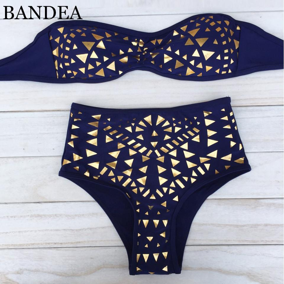 sexy Push Up swimwear golden Print bikini swimsuit High Waist bathing suit Women swimsuit-SWIMWEAR-SheSimplyShops