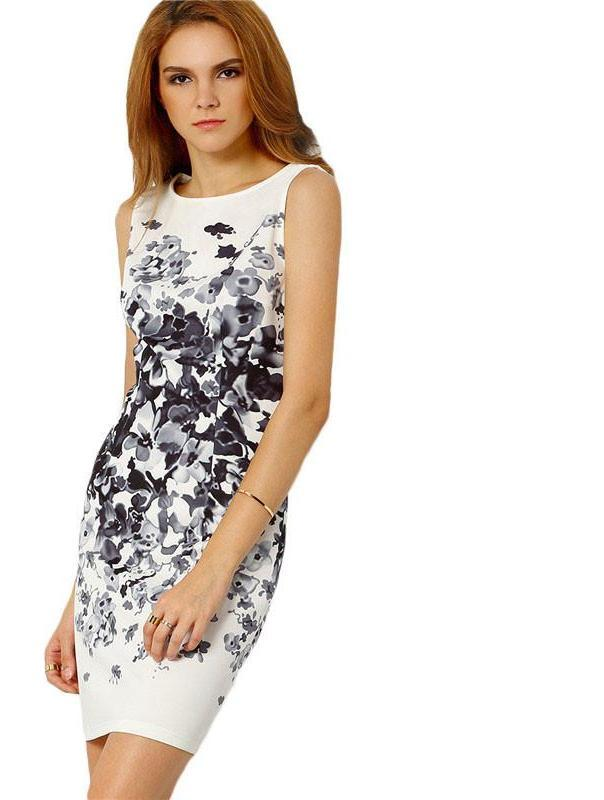 SheIn Ladies White Sleeveless Vintage Floral Print Bodycon Mini Dress Sheath Round Neck Elegant Pencil Short Dress-Dress-SheSimplyShops