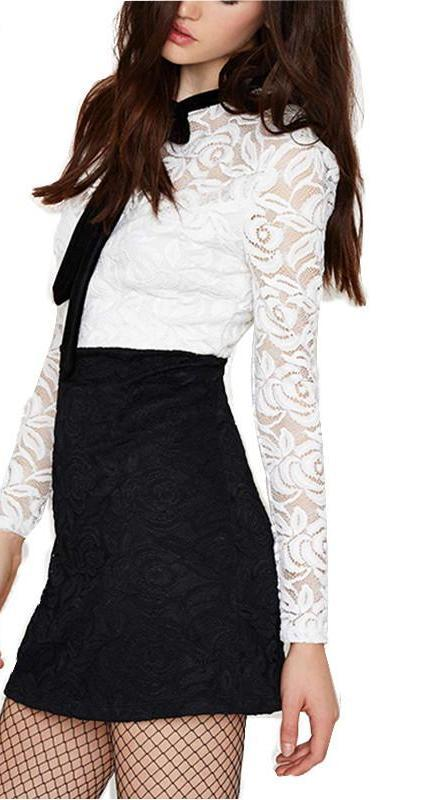 HDY Haoduoyi Autumn Women Fashion Lace Floral Embossed A-Line Mini Dress Hollow Out Long Sleeve High Waist Tie Front Dress-Dress-SheSimplyShops