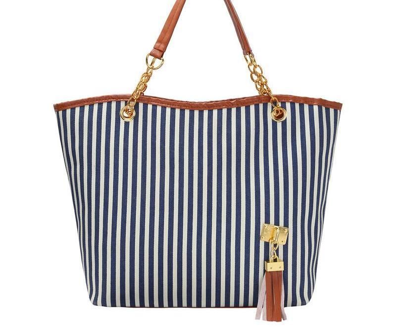 SheIn Woman Bags Handbag Fashion Blue Casual Vertical Striped Double Handle Tassel Large Canvas Shoulder Bag-BAGS-SheSimplyShops