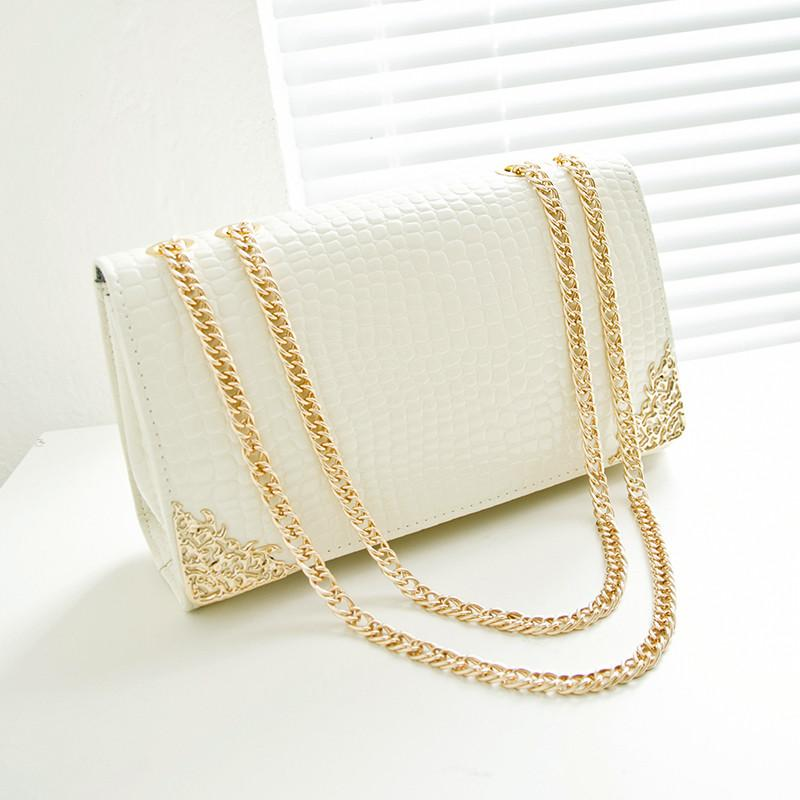 new summer trend women bag, han edition crocodile lines handbags, gold chain retro women messenger bags.-BAGS-SheSimplyShops