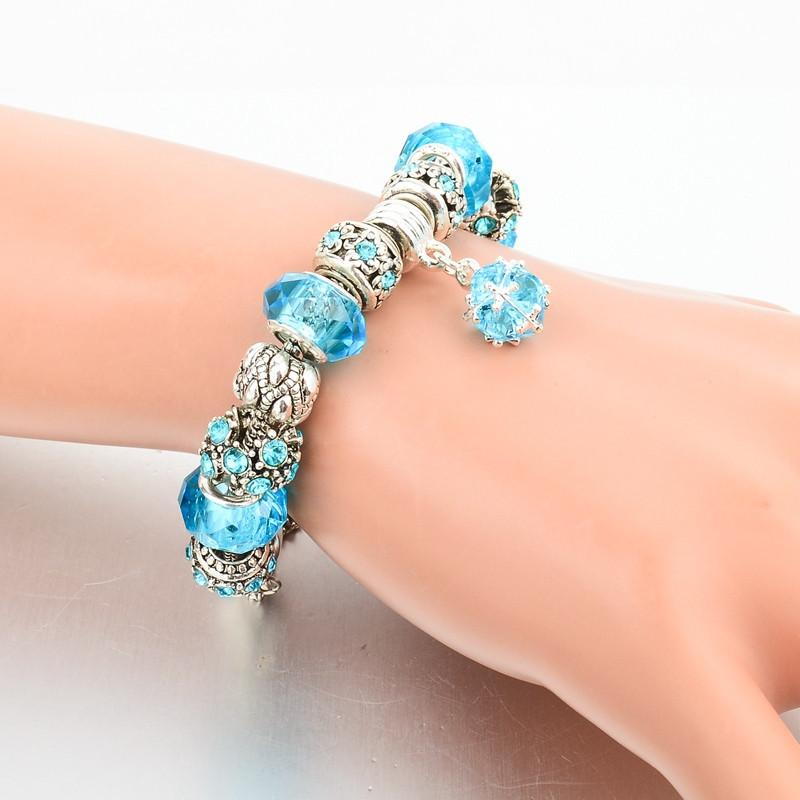 Authentic Tibetan Silver Blue Crystal Charm Bracelets for Women Original DIY Jewelry-BRACELETS-SheSimplyShops