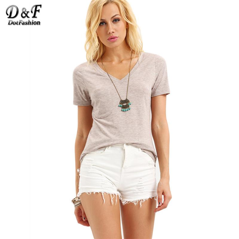 Women Loose Tops Summer Plain Tees Pink V Neck Short Sleeve Simple Basic Casual Wear T-shirt-Bottoms-SheSimplyShops