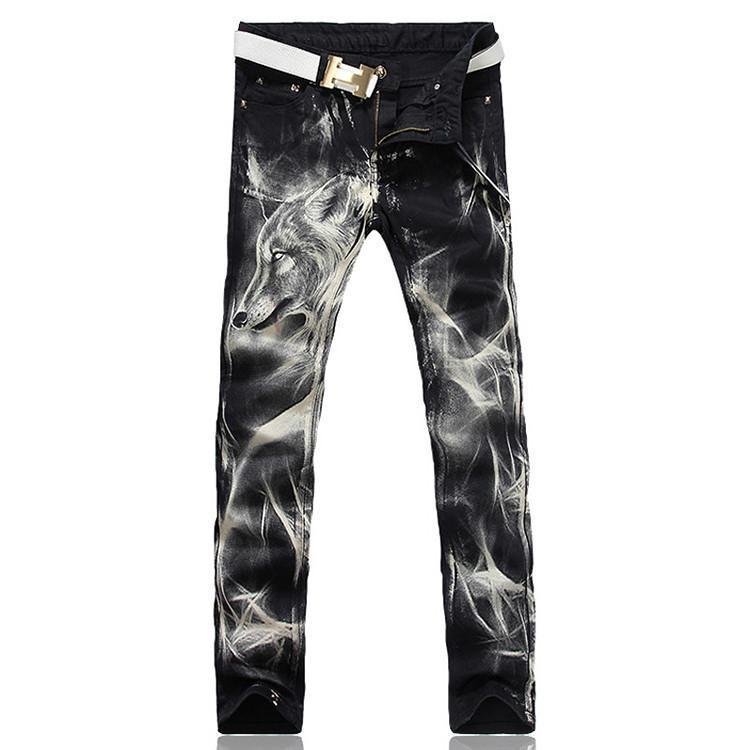Men's fashion wolf print stretch denim jeans Slim black painted straight pants Long trousers-JEANS-SheSimplyShops