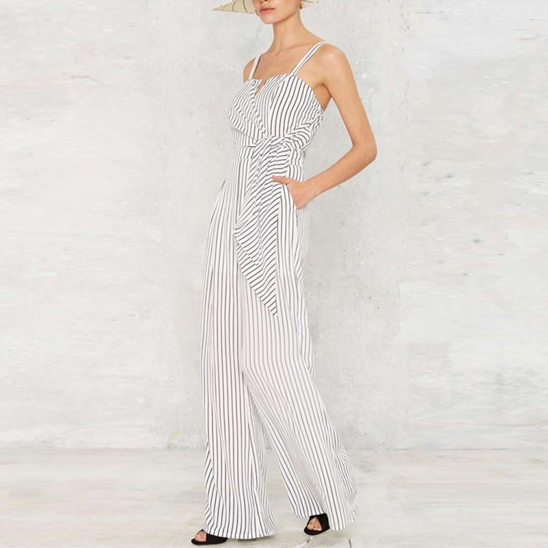 HDY Haoduoyi Summer Fashion Women Off Shoulder Strap Playsuit Stripe Romper Long Wide Leg Jumpsuit-ROMPERS & JUMPSUITS-SheSimplyShops