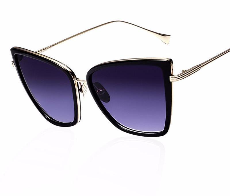 New Fashion Women Sunglasses Cat Mirror Glasses Metal Cat Eye Sunglasses Women Designer High Quality Square Style-BAGS-SheSimplyShops