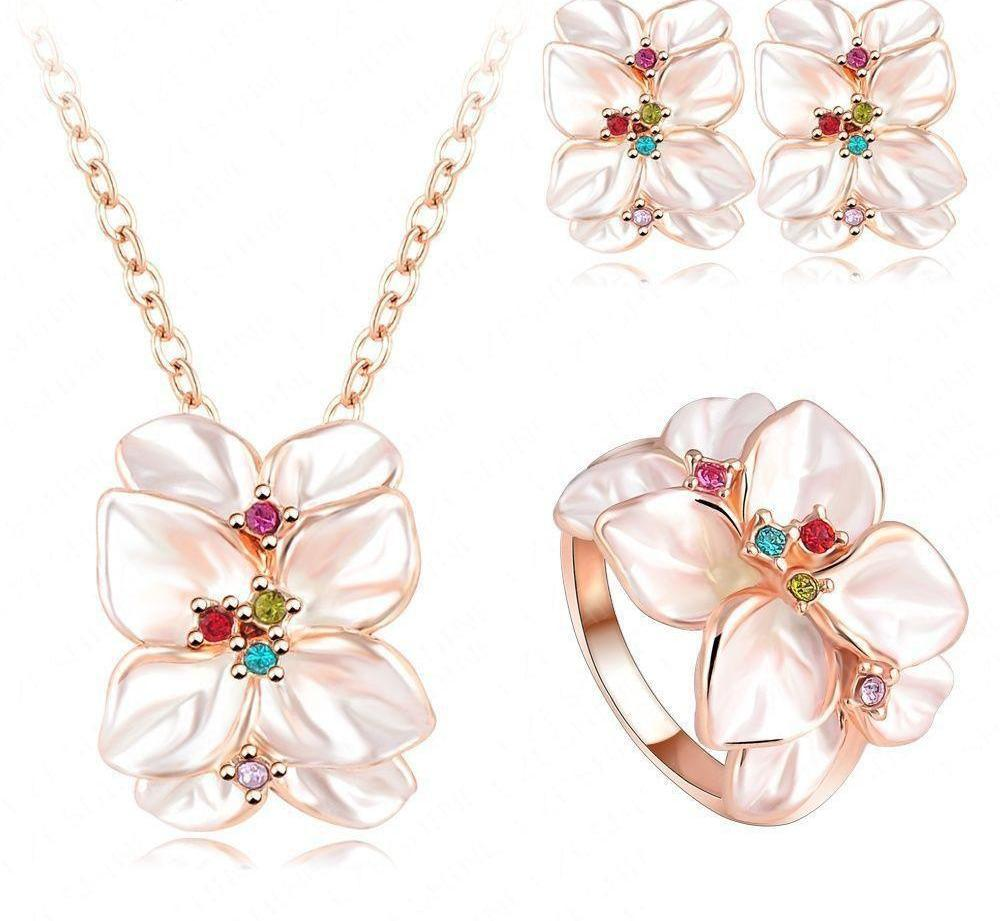 Best Seller Jewelry Set Rose Gold Plate Austrian Crystal Enamel Earring/Necklace/Ring Flower Set Choose Size of Ring ST0002-EARRINGS-SheSimplyShops