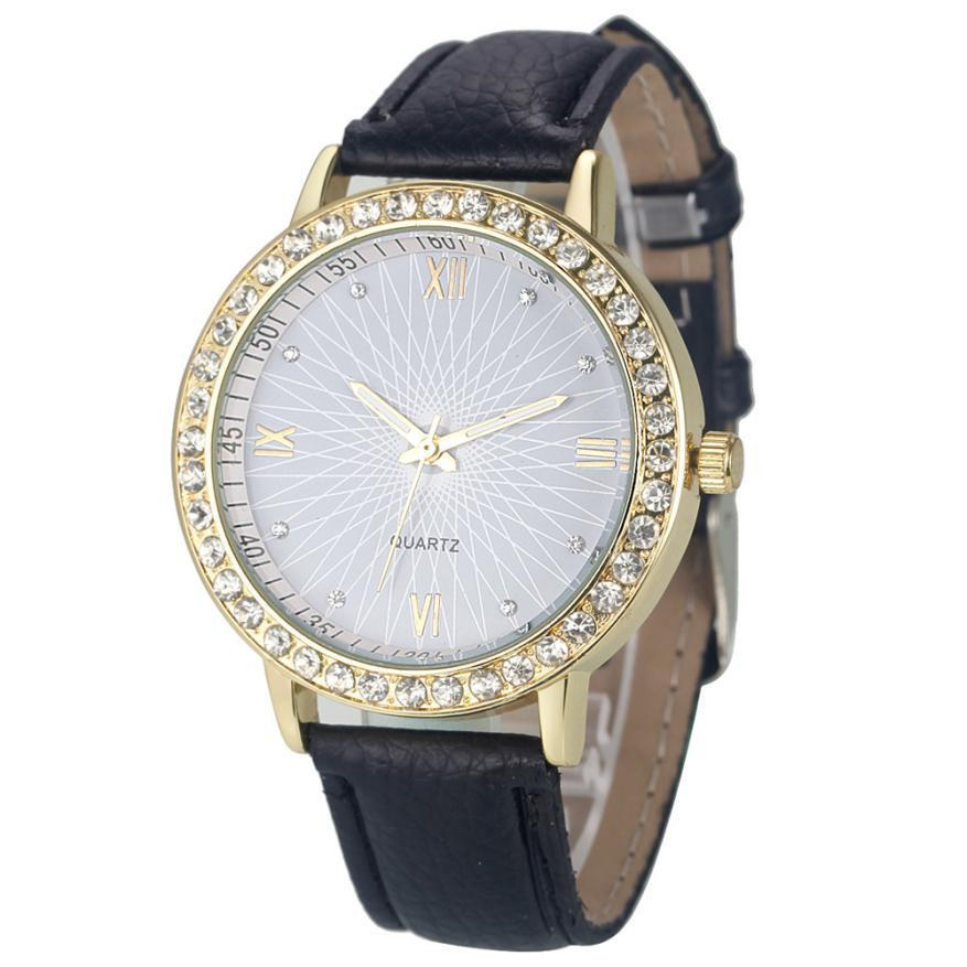 Attractive Colorful Fashion Women Diamond Analog Leather Quartz Wrist Watch Watches SP25-WATCHES-SheSimplyShops