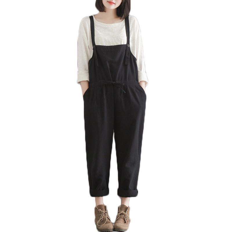 Casual Overalls Wide Leg Harem Rompers-ROMPERS & JUMPSUITS-SheSimplyShops
