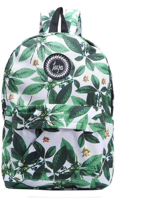 SheIn Fashion Preppy Style Bags For Women New Arrival Casual Ladies Green Leaf Print Embroidered Canvas Backpack-BAGS-SheSimplyShops