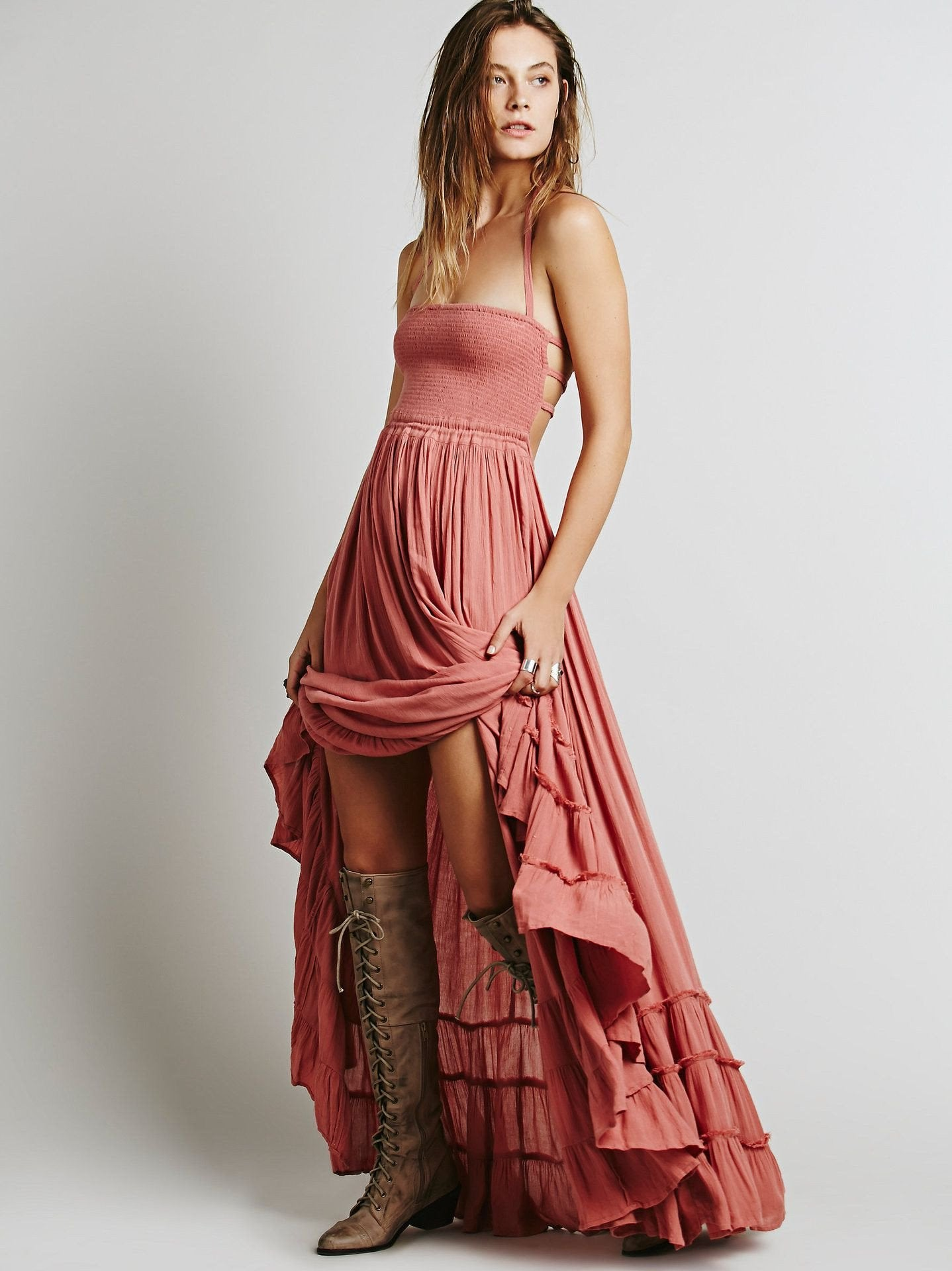 sexy Long backless cotton party beach dress-Dress-SheSimplyShops