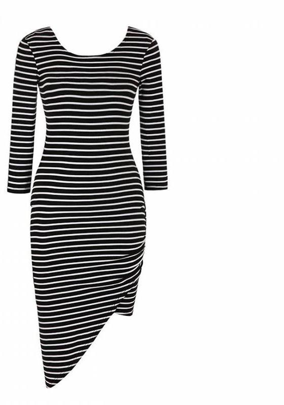 New Asymmetric Stripe Long Sleeve Knee-Length Dress Women Autumn Thin Casual O-necK Dresses Brief Syle-Dress-SheSimplyShops