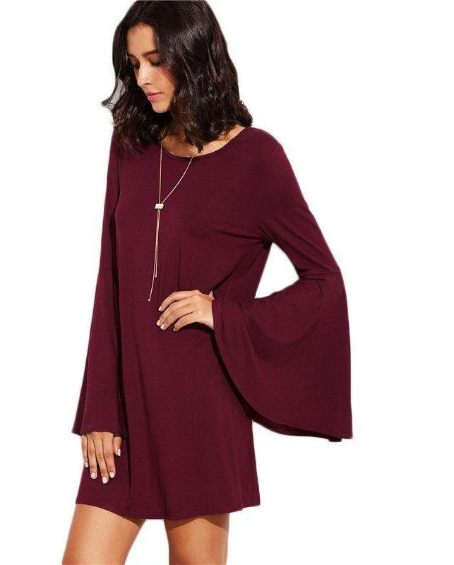 Burgundy Flare Sleeve Shift Dress Fall New Style Ladies Round Neck Long Sleeve Loose Mini Dress-Dress-SheSimplyShops