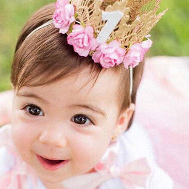 7 Colors Newborn Baby Birthday Crown Headband Flower Lace Gold Tiara Headband for Baby Girls Party Hiar Band Accessories Gifts-ACCESSORIES-SheSimplyShops