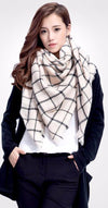 Women Winter Plaid Square Knitted Scarf Female Warm Shawls Cotton Scarves-SCARVES-SheSimplyShops