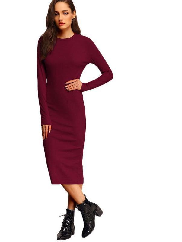 SheIn Women Office Dress Midi Dress Bodycon Long Sleeve Crew Neck Slit Elegant Office Ladies Dresses-Dress-SheSimplyShops