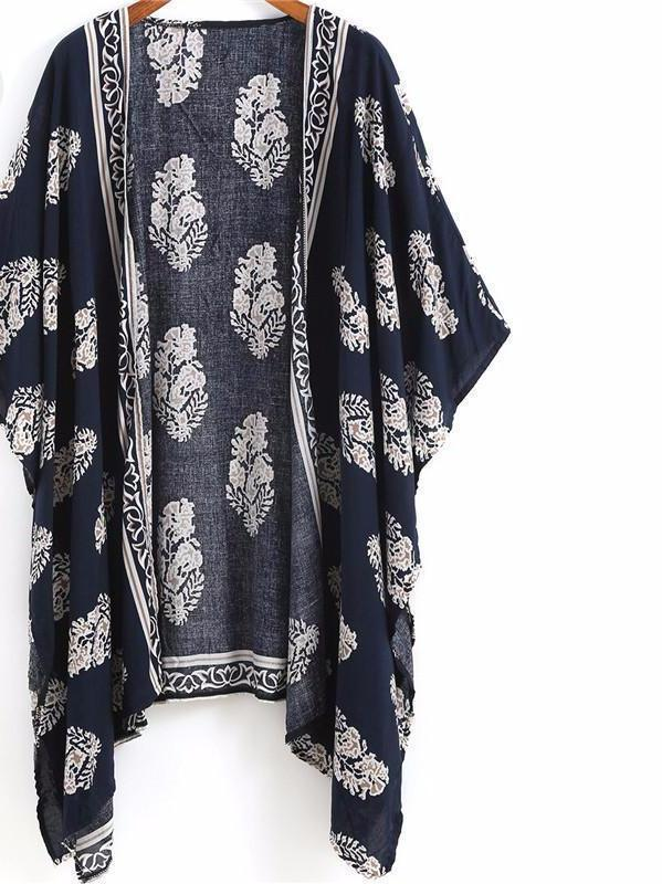 Summer Beach Wear Ladies Loose Tops Navy Vintage Floral Print-Tops-SheSimplyShops