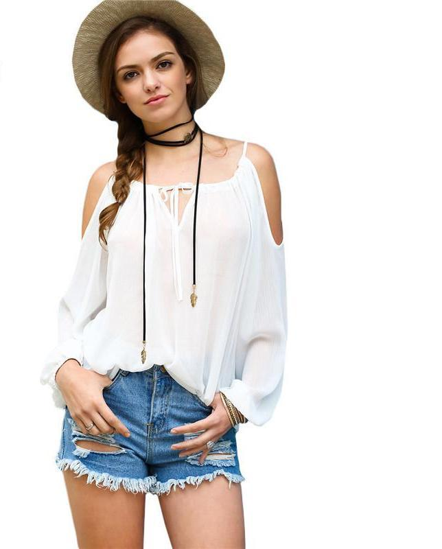 SheIn Summer New Tops Womens White Cold Shoulder Long Puff Sleeve Spaghetti Strap Self-tie Neck Casual Loose Blouse-Blouse-SheSimplyShops