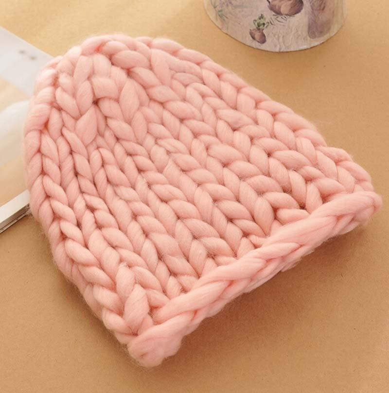 Women Winter Warm Hat Handmade Knitted Coarse Lines Cable Hats Knit Cap Candy Color Beanie Crochet Caps Women Accessories-SCARVES-SheSimplyShops