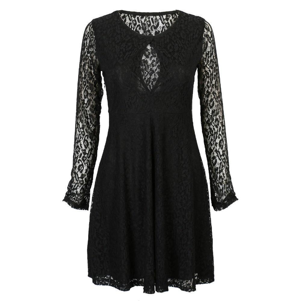 Sexy Semi Sheer Lace Lined Skater Mini Dress-Dress-SheSimplyShops