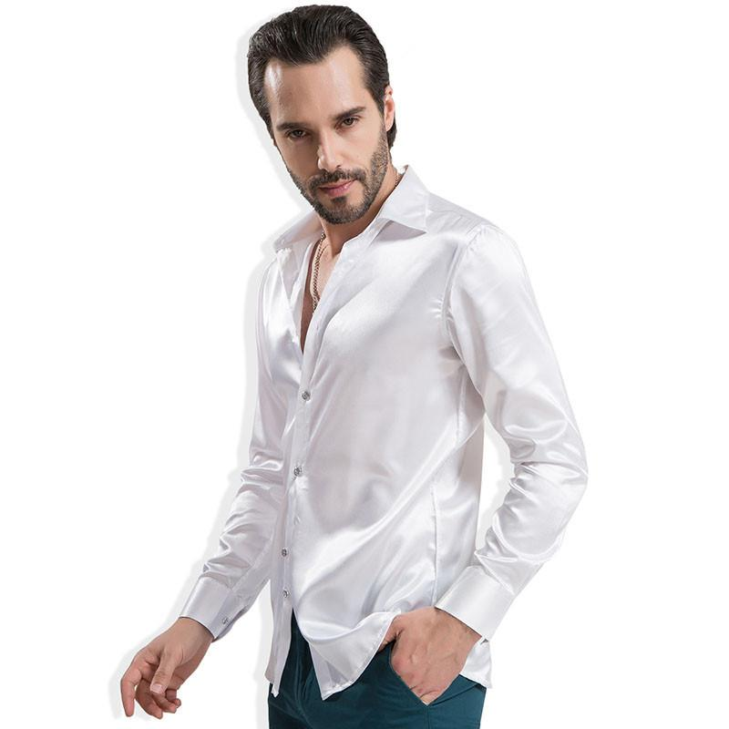 Casual Long sleeve Silk Shirts-SHIRTS-SheSimplyShops