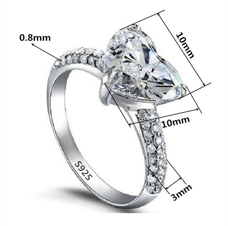 Big Heart 3 Carat White Gold Wedding Rings-Women - Jewelry - Rings-SheSimplyShops