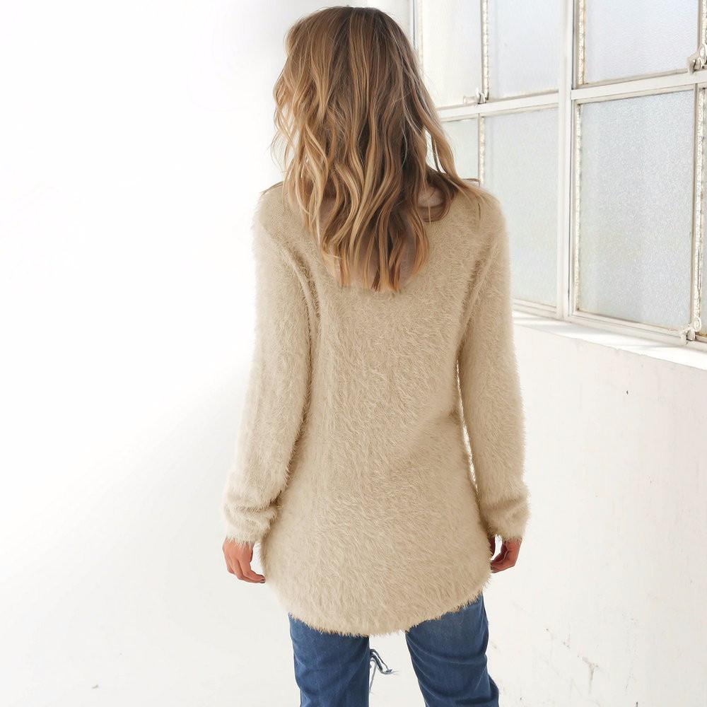S-XL Beige Fluff Long Sleeve Round Hem Casual Fashion Pullovers All Match Autumn Warm Sweater Women Jumper-SWEATERS + CARDIGANS-SheSimplyShops