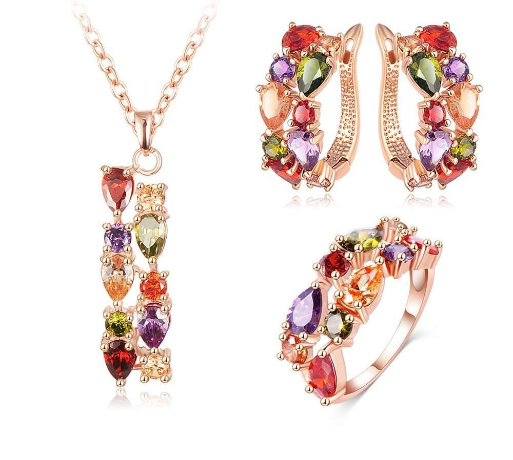 LZESHINE New Top Rose Gold Plate Flower Jewelry Set Multicolor Cubic Zircon Pendant/Earrings/Ring Women Wedding Jewelry Sets-EARRINGS-SheSimplyShops