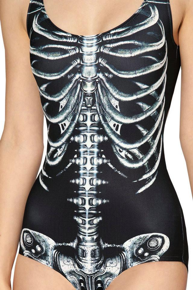 New S To XL 6 Patterns Sexy Black White Skeleton Swimsuit One Piece For Women Active SKull White Swimwears-SWIMWEAR-SheSimplyShops