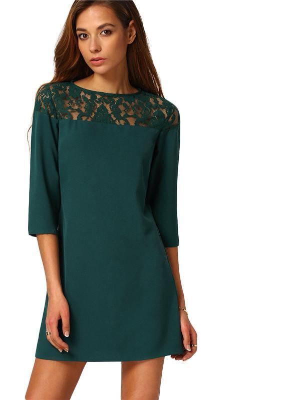 SheIn Dark Green Round Neck With Lace Mini Dress Women Solid Three Quarter Length Sleeve Plain Above Knee Shift Dress-Dress-SheSimplyShops
