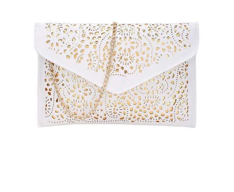 SheIn Women Envelope Clutch Bags New Arrival Vintage Laser Cut PU Rhinestone Embellished White Small Clutches With Chain-BAGS-SheSimplyShops