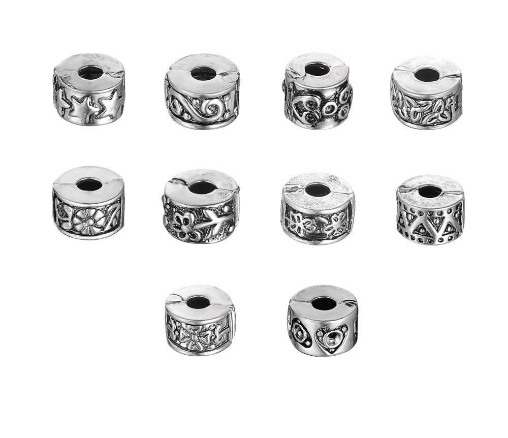 LZESHINE Bead Clip Lock Lots Mixed 10Pcs Tibetan Silver Plate Stopper Beads Charms Fit European Bracelet-BRACELETS-SheSimplyShops