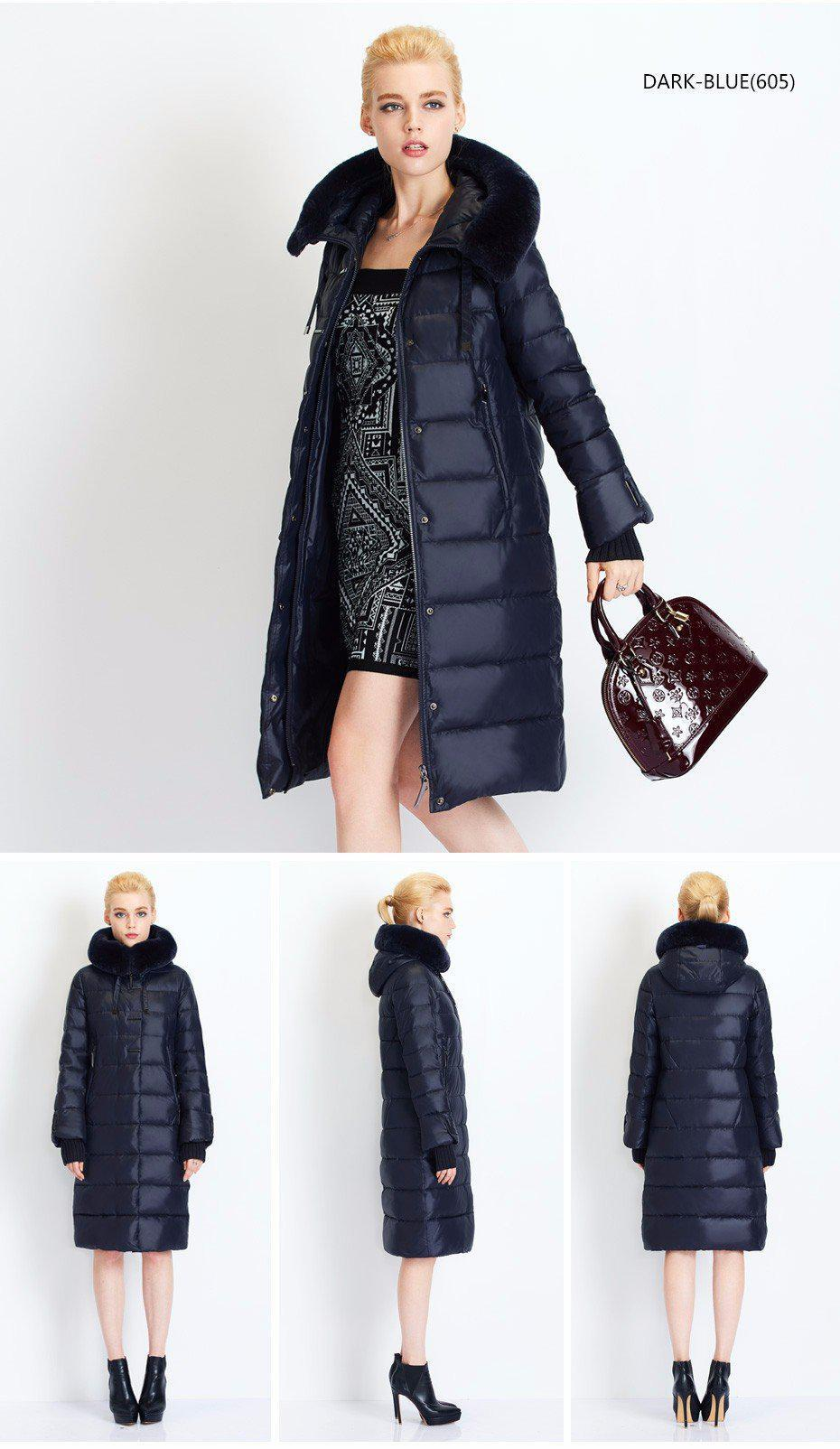 Women Down Coat Jacket Medium Length Woman Down Parka with a Rabbit Fur Winter Coat Women MIEGOFCE New Winter Collection-Coats & Jackets-SheSimplyShops