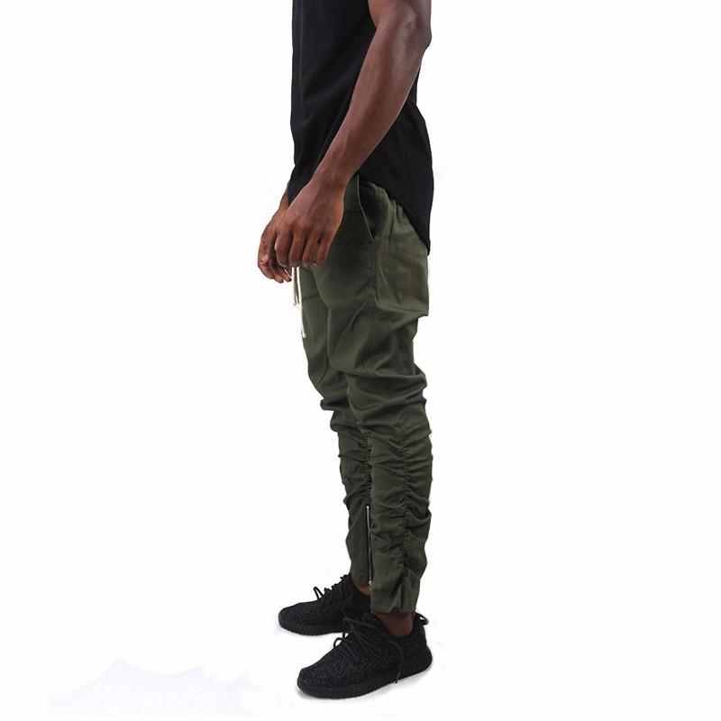 Army Pants Casual Skinny Zipper botton Sweatpants Solid Hip Hop high street Trousers Pants Men Joggers Slimming pants-PANTS-SheSimplyShops