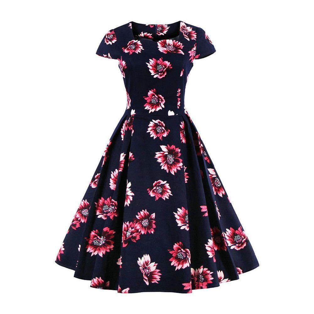 Casual Floral Prints Midi Skater Dress-Dress-SheSimplyShops
