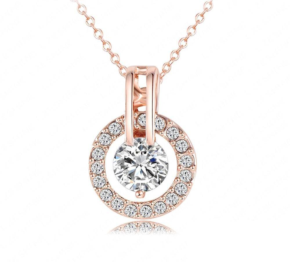 LZESHINE Circle Round Pendant & Necklaces Rose Gold Plated New Christmas Jewelry Top Quality-NECKLACES-SheSimplyShops