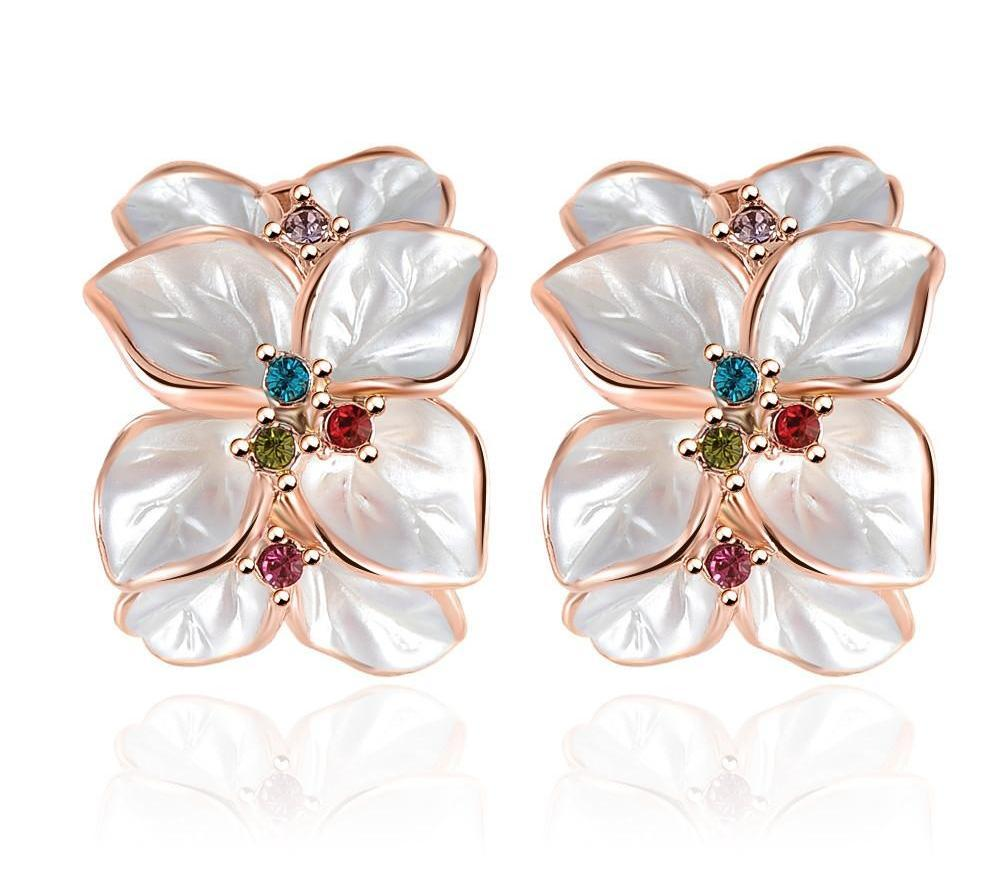 LZESHINE Wedding Jewelry Women Earrings Rose Gold Plate Genuine Austrian Crystal Enamel Flower Earring-EARRINGS-SheSimplyShops