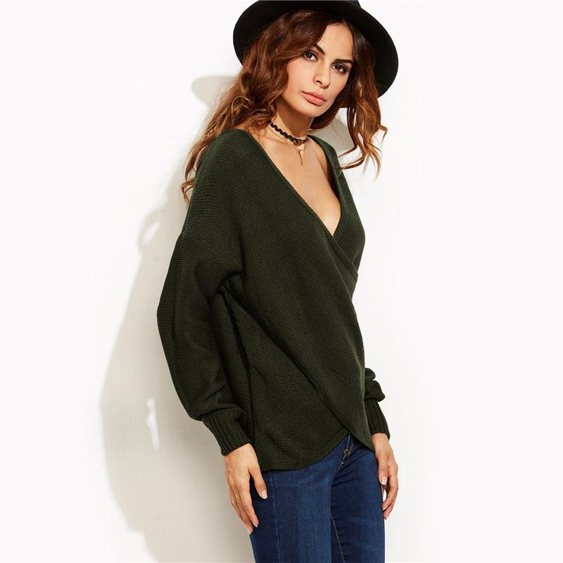 SheIn Casual Pullovers For Ladies Autumn Olive Green V Neck Long Sleeve Drop Shoulder Loose Crossover Wrap Sweater-SWEATERS + CARDIGANS-SheSimplyShops