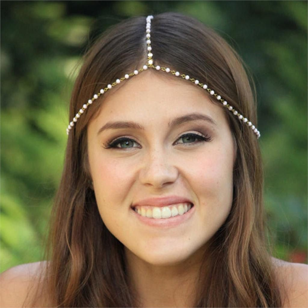 cheap-fine Fashion Women Lady Artificial Pearls Charm Head Chain Headband Jewelry Headpiece Hair Band Lady Lovely Gift-JEWELRY-SheSimplyShops