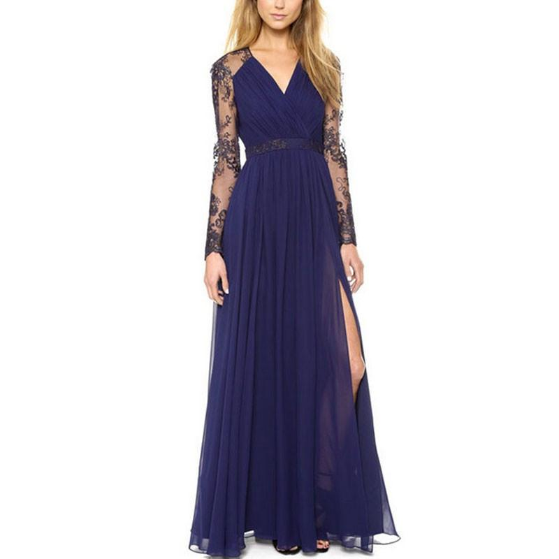 HEE GRAND Autumn New Sexy Lace Floor-Length Dresses V-Neck Split Maxi Vestidos Longo Lace Back &Sleeve Long Dress WQL4699-Dress-SheSimplyShops