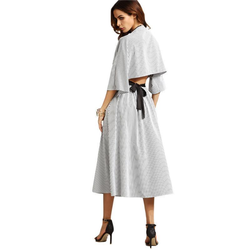 SheIn Womens Grey Striped Contrast Belt Open Back Dresses Ladies V Neck Three Quarter Length Sleeve A Line Long Dress-Dress-SheSimplyShops