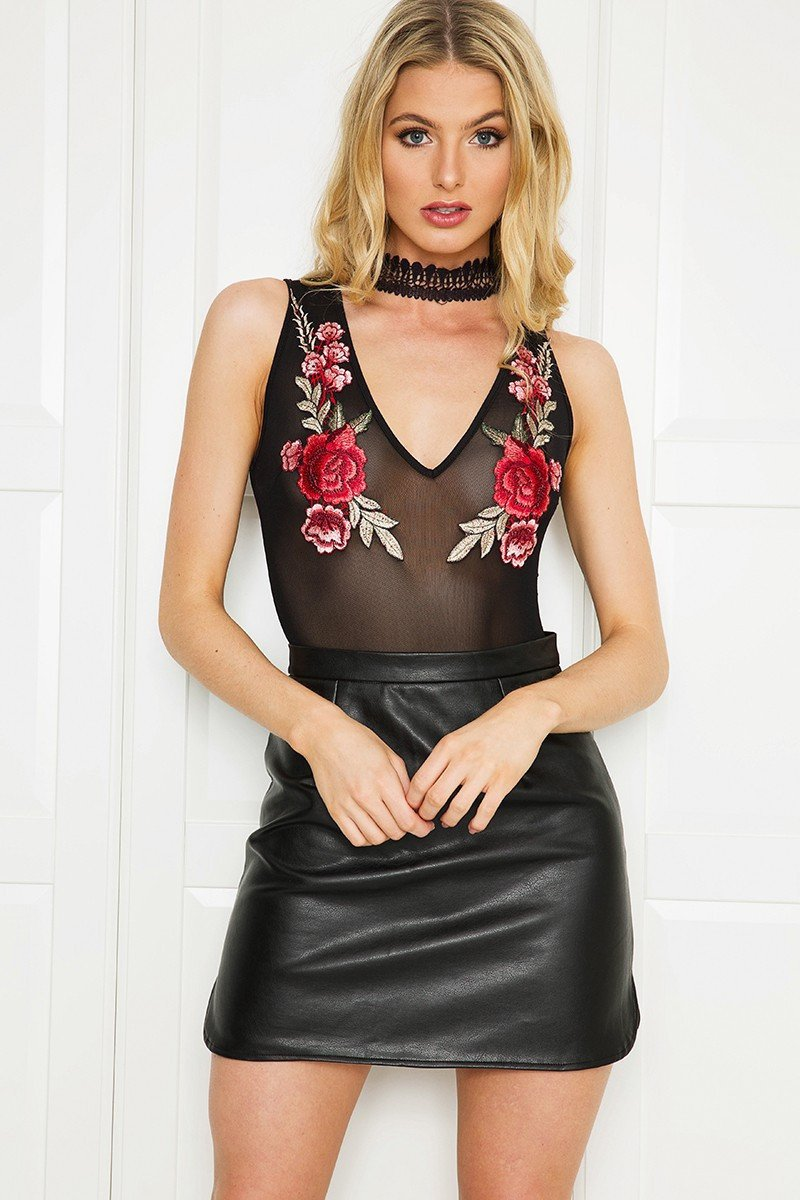 Sexy Lace Crochet Choker Floral Embroidery Mesh Bodysuit-ROMPERS & JUMPSUITS-SheSimplyShops