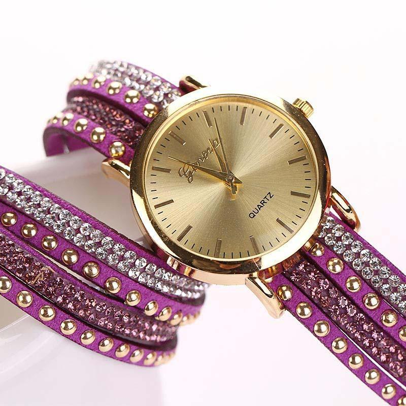Super Deal, Fashion Women's Watches Retro Bracelet Watch Synthetic Leather Quartz Watch Crystal Bling Dress Montre Relogio-Dress-SheSimplyShops